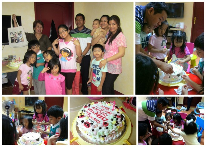 Decorating a birthday cake for our dear Pastora Mercy