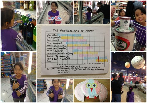 BJU K5 Math: Learning about measurements: the liter, gallon and pint; Bar graph of the ages of the Generations of Adam; Learning about fractions (half and whole) using owl craft; Times and Seasons marked by the heavenly bodies
