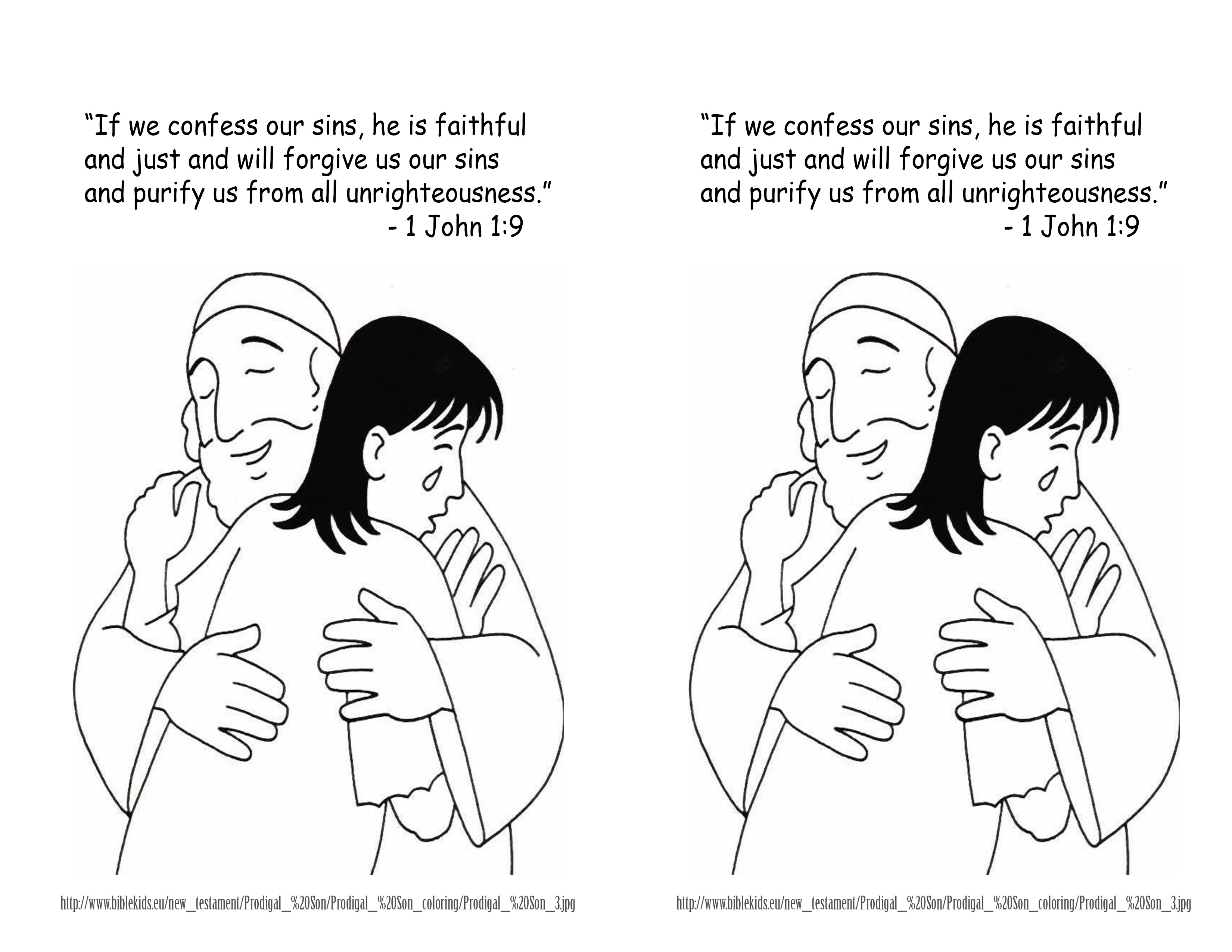 Prodigal son coloring pages for kids - January 6 2014 1 John1 9 Coloring Page